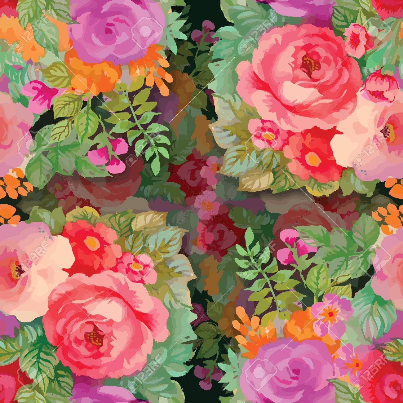 Seamless patterns with Beautiful flowers, watercolor illustration - 41115975