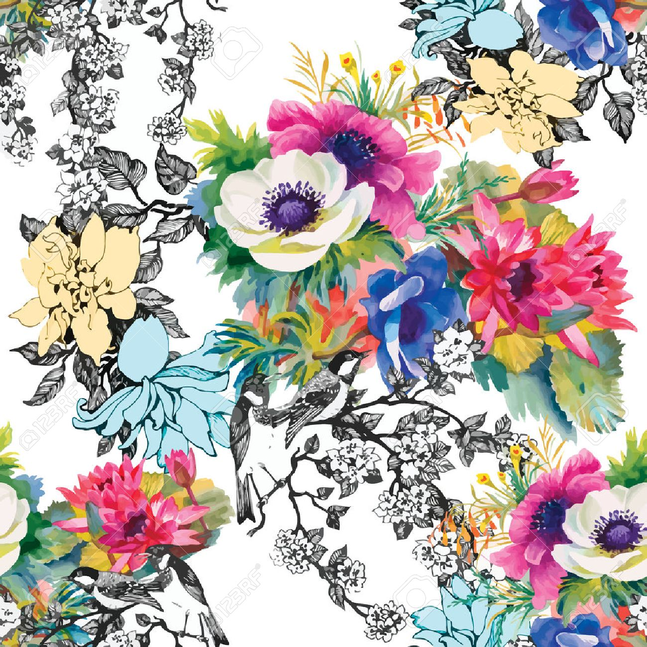 Seamless pattern watercolor flowers, paper, textile, fabric, wrapper, wallpaper,vector - 41643589