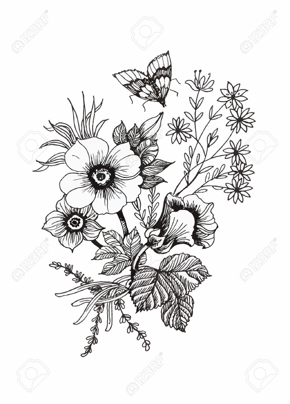 Beautiful monochrome, black and white flower isolated. Hand-drawn contour lines and strokes - 45114064