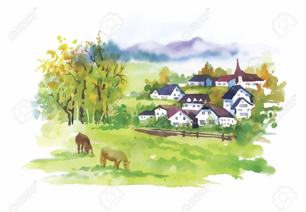 Watercolor rural village in green summer day illustration. - 45116955