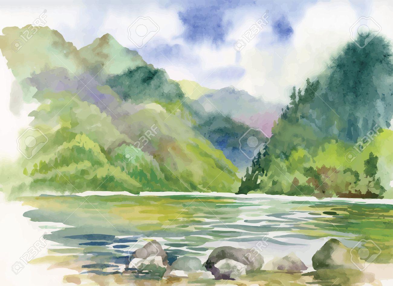 Watercolor summer river landscape vector - 45117228