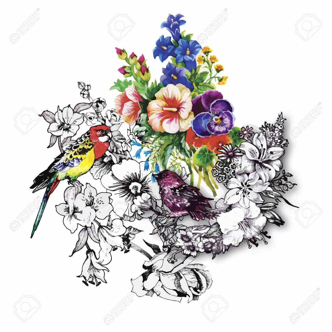 Watercolor hand drawn pattern with tropical summer flowers of and exotic birds. - 45502256