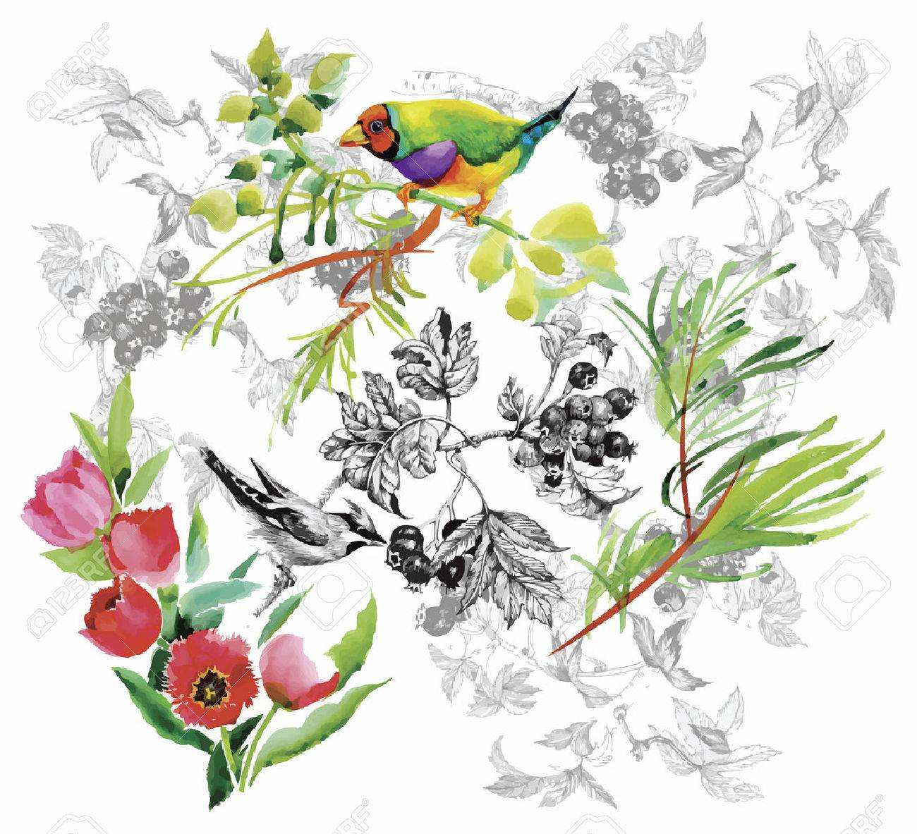 Watercolor hand drawn pattern with tropical summer flowers of and exotic birds. - 45502283