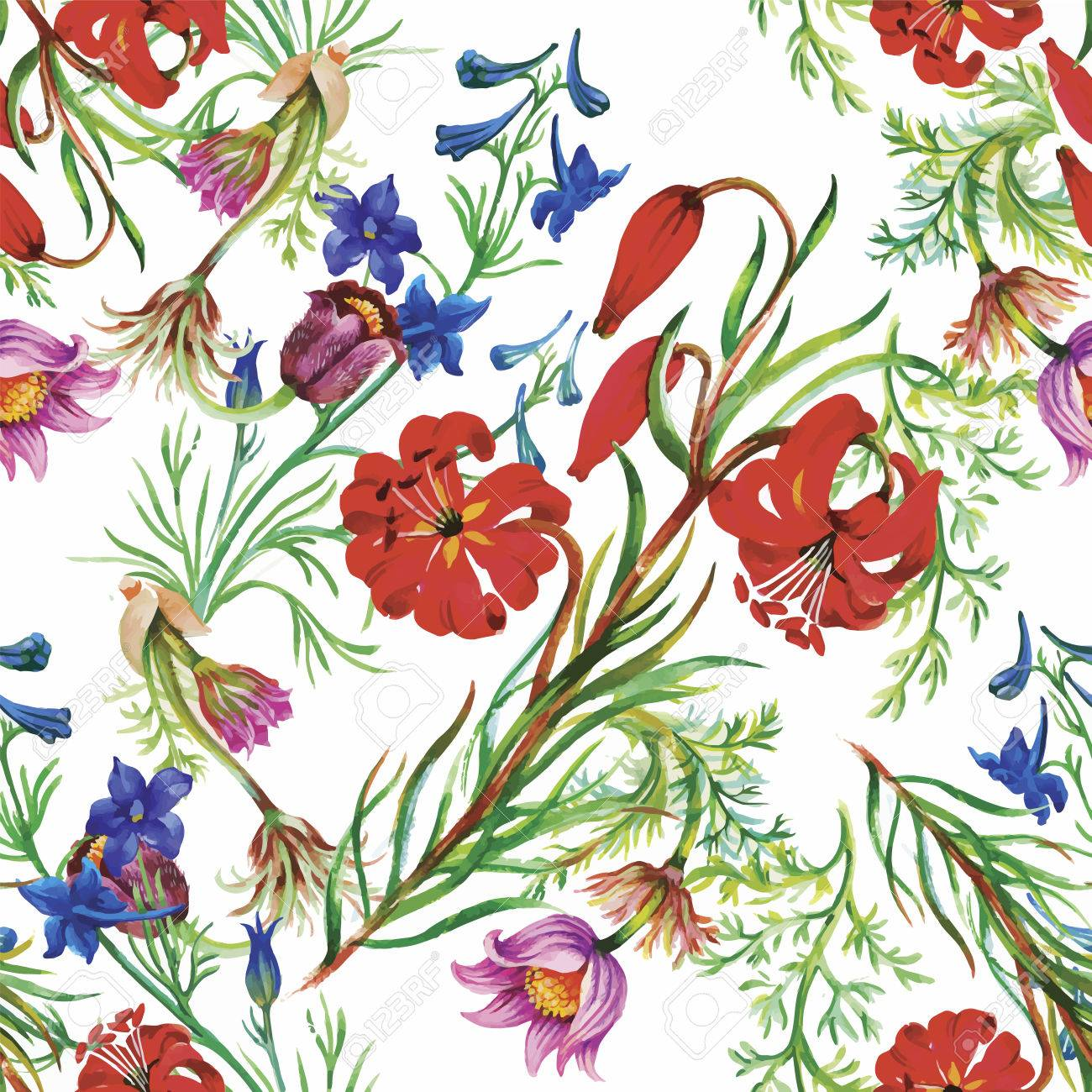 Seamless pattern with Beautiful flowers, Watercolor painting. - 45811775