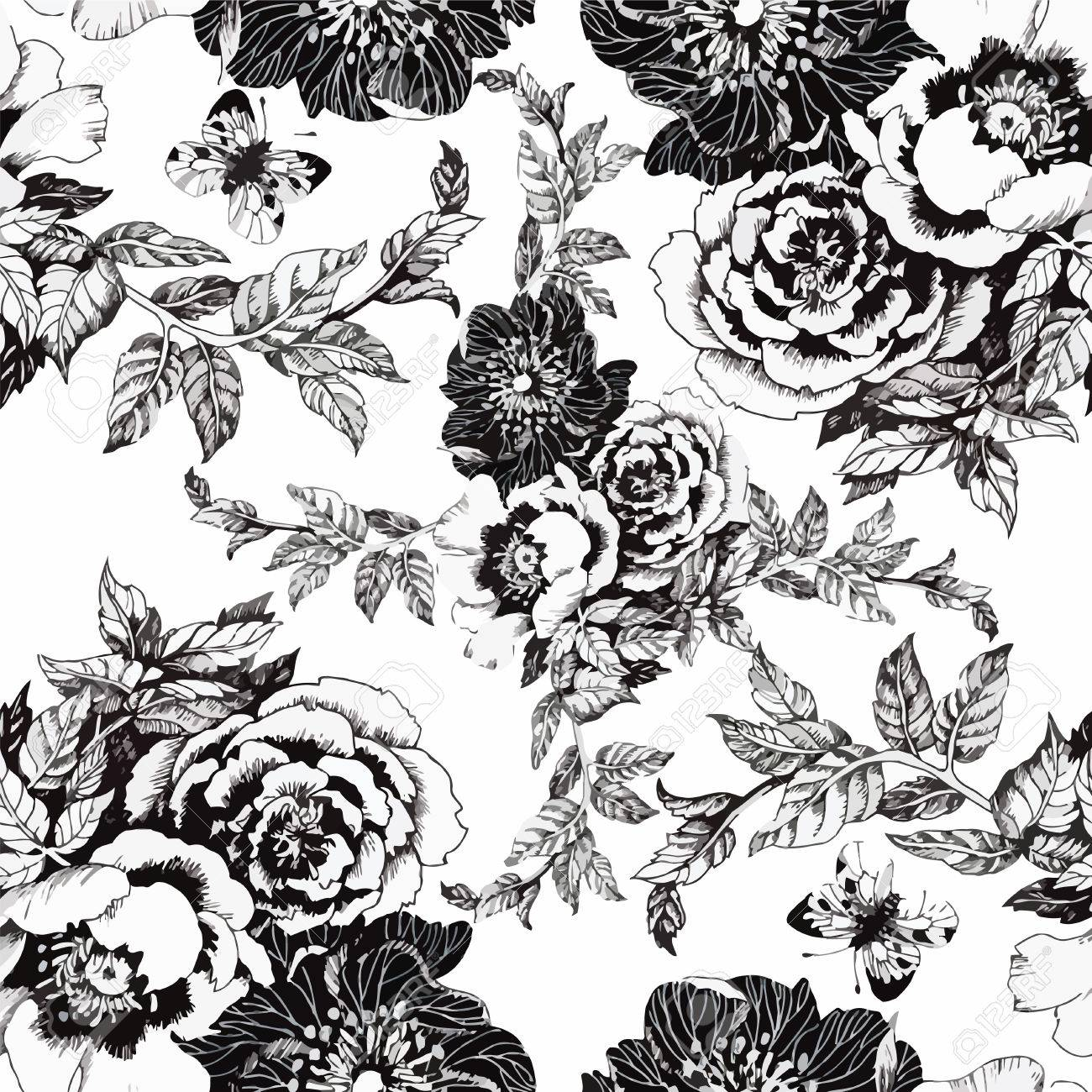Seamless pattern with Beautiful flowers, Watercolor painting. - 45811564