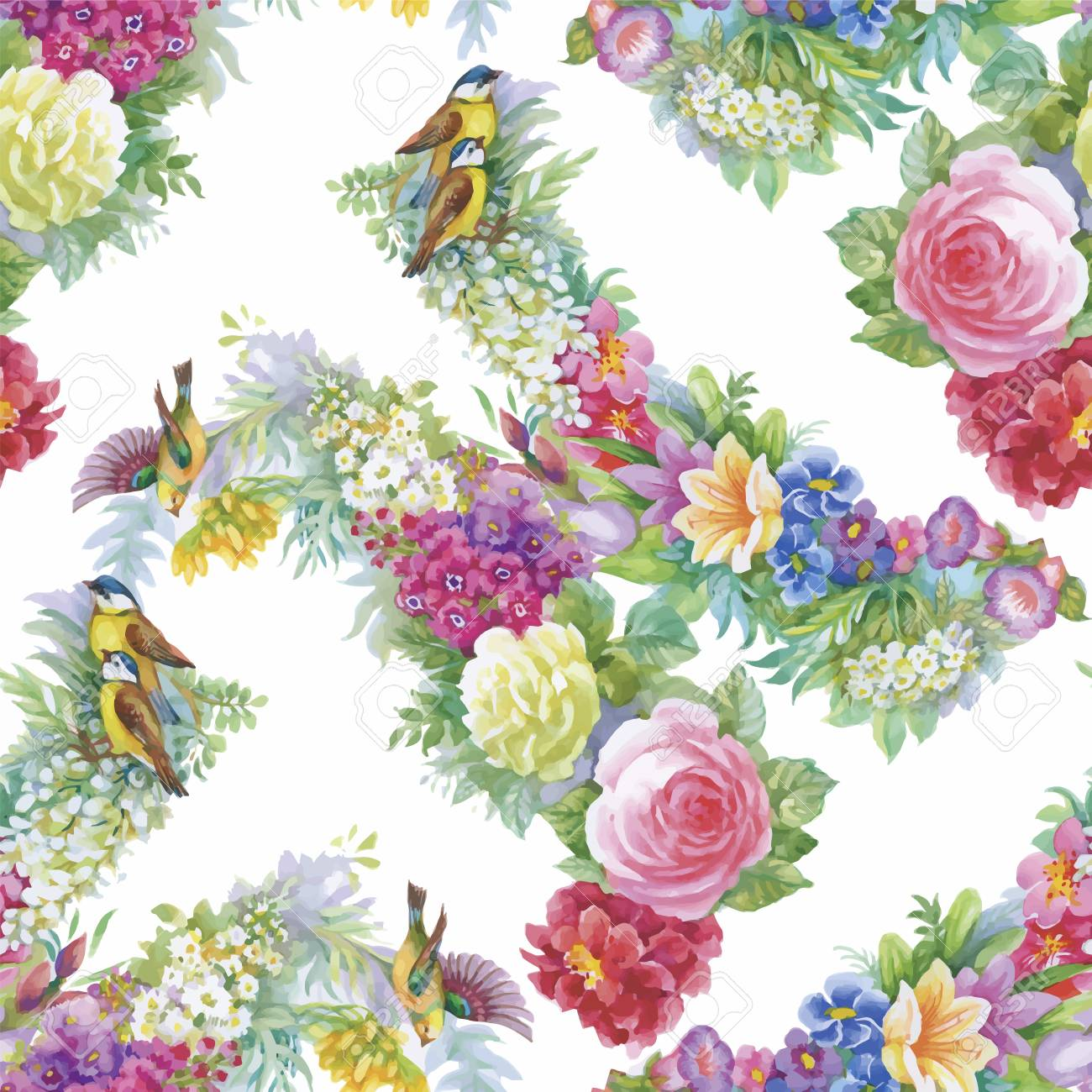 Seamless Pattern With Beautiful Flowers Watercolor Painting