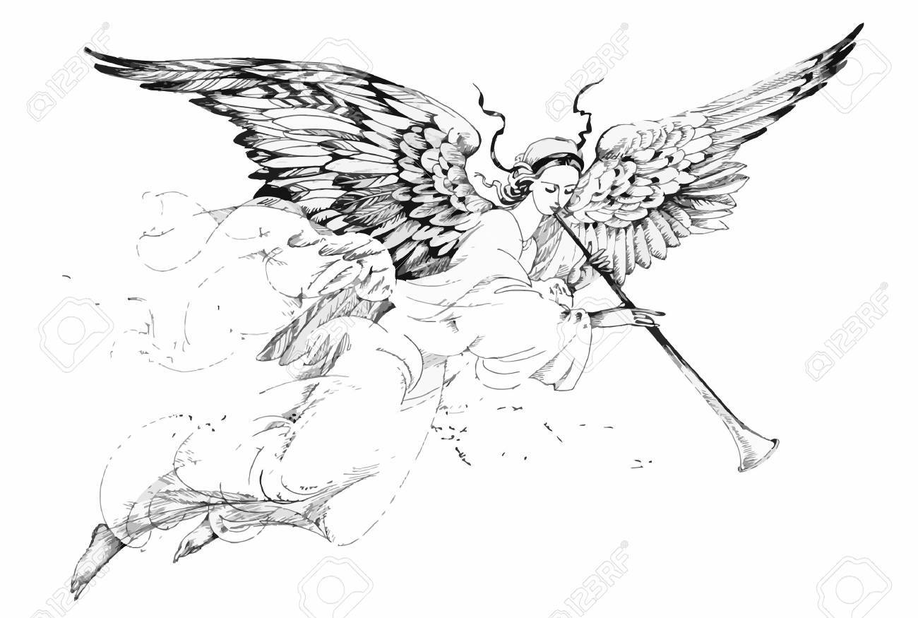 Beautiful angel with wings in white background - 61635014