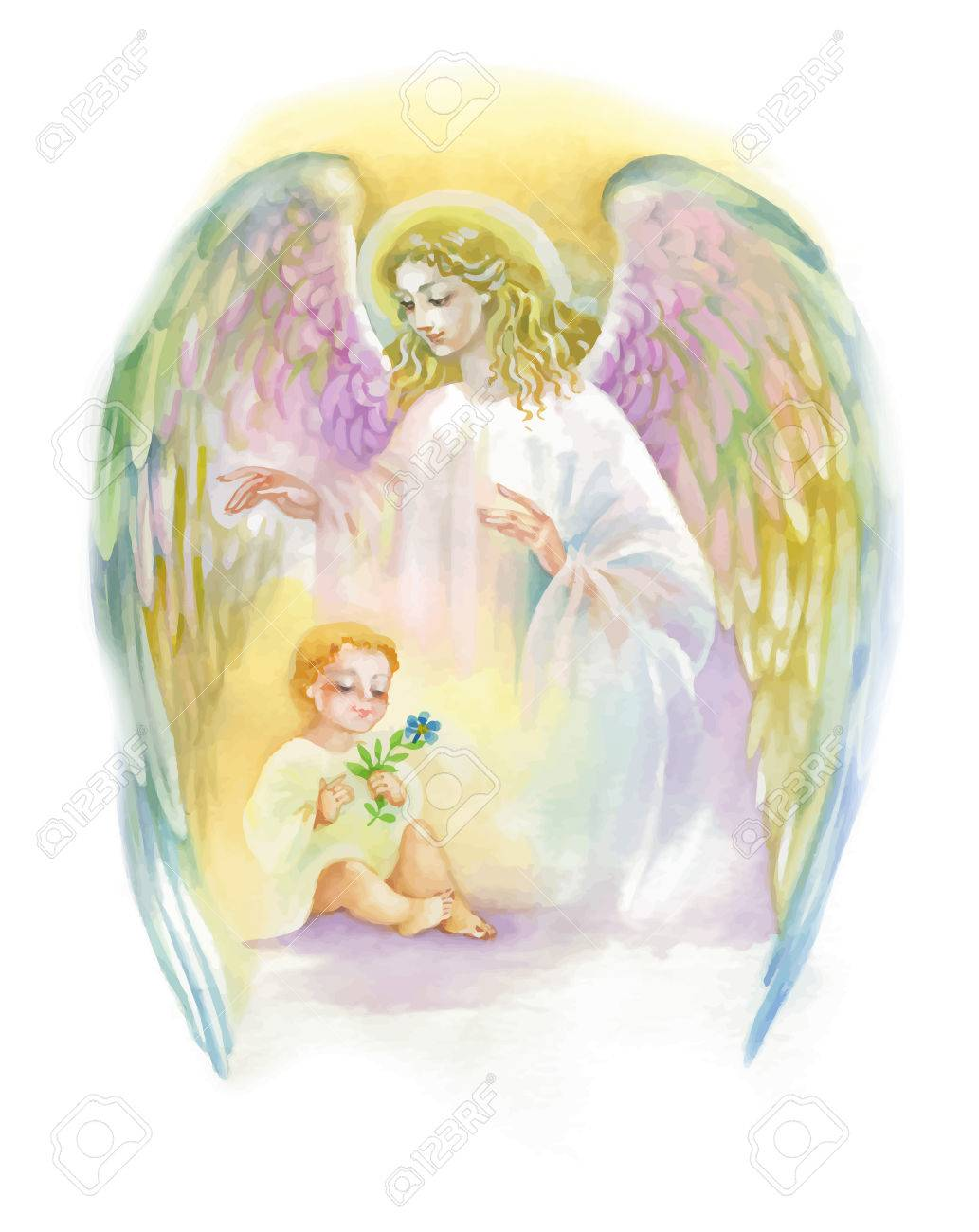 Beautiful Angel with Wings Flying over Child, Watercolor Illustration - 61635026
