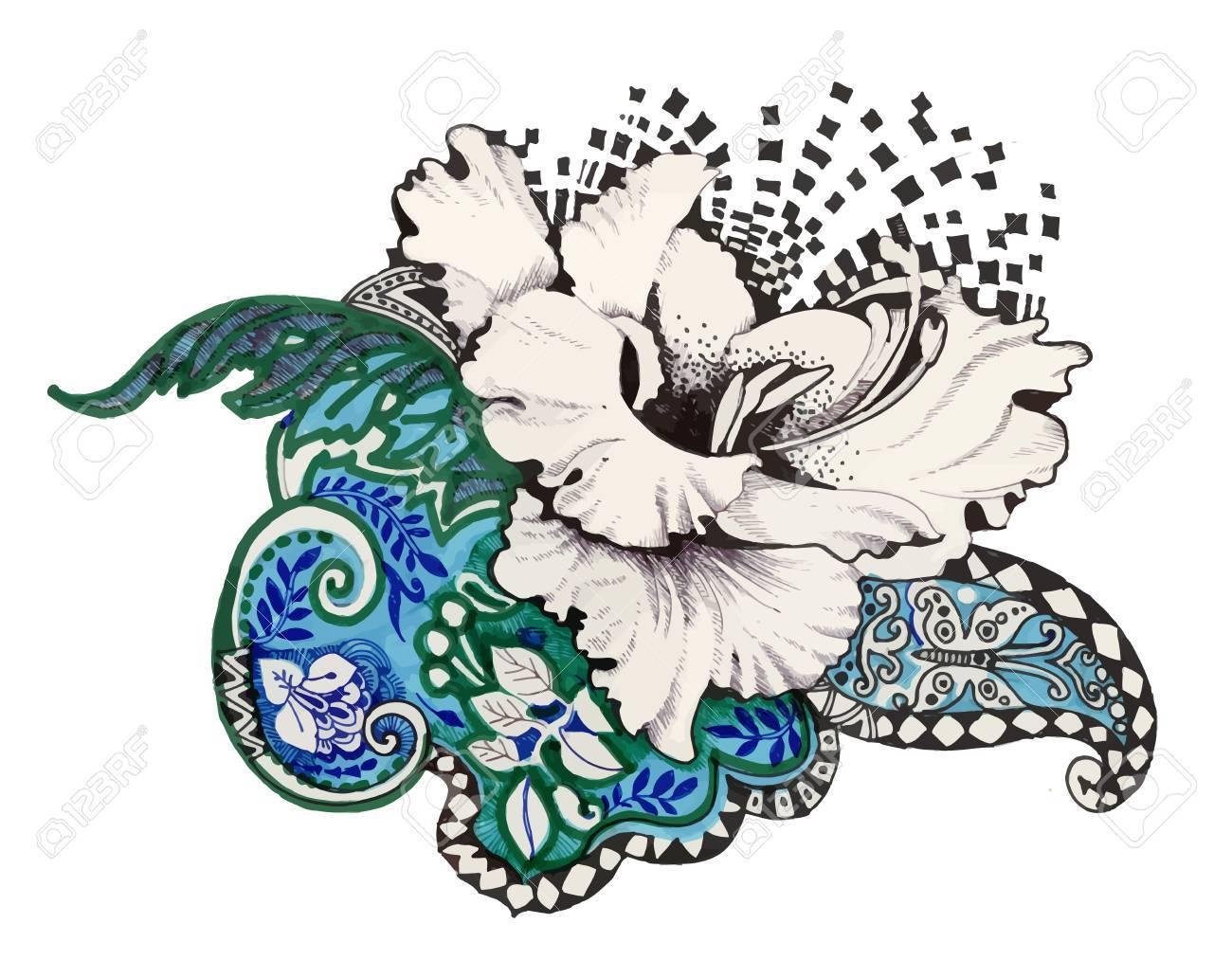 抽象的なサインペンの花イラストのイラスト素材ベクタ Image 61635208