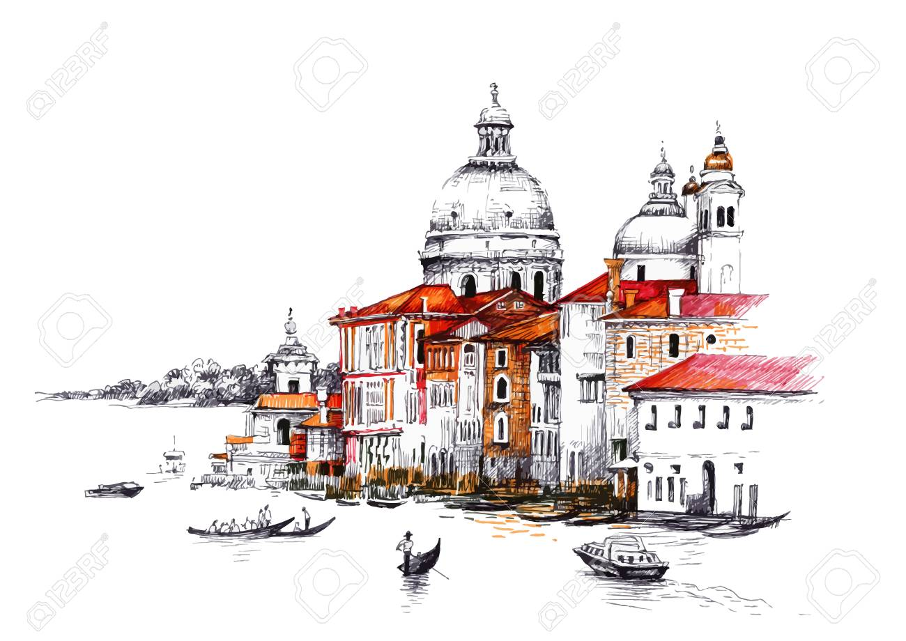 Watercolor cityscape with houses illustration - 61635665
