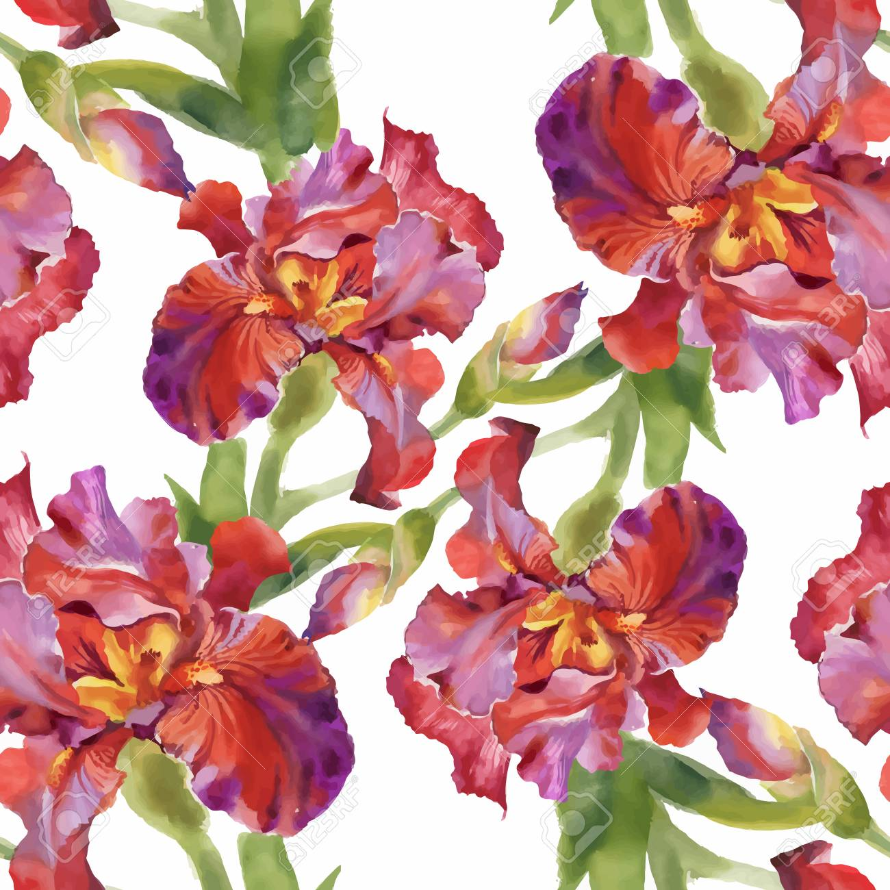 Watercolor Seamless Pattern With Colorful Flowers And Leaves ...