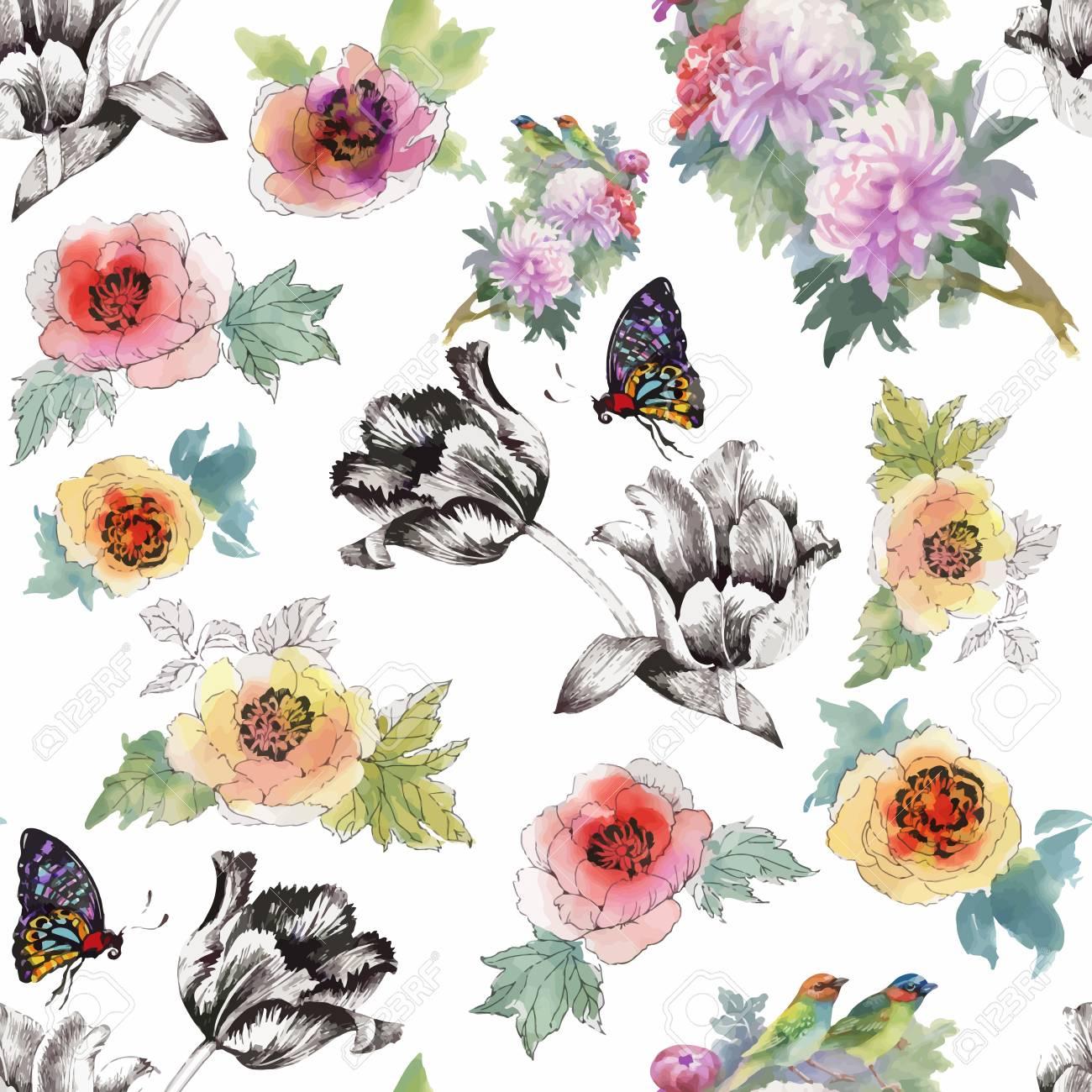 色とりどりの花と白い背景 水彩花柄 パステル カラー 壁紙 カード