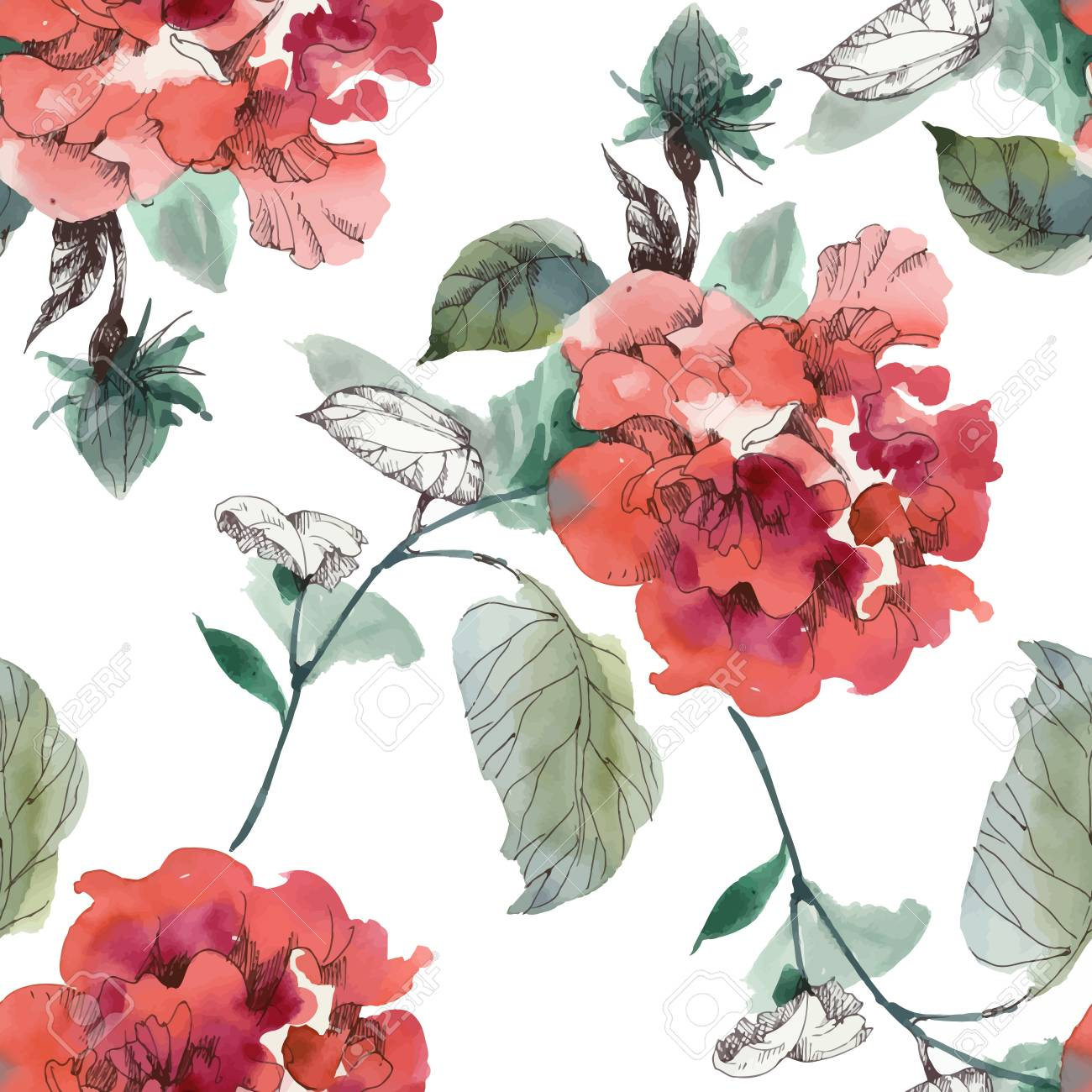 Watercolor Seamless Pattern With Colorful Flowers And Leaves