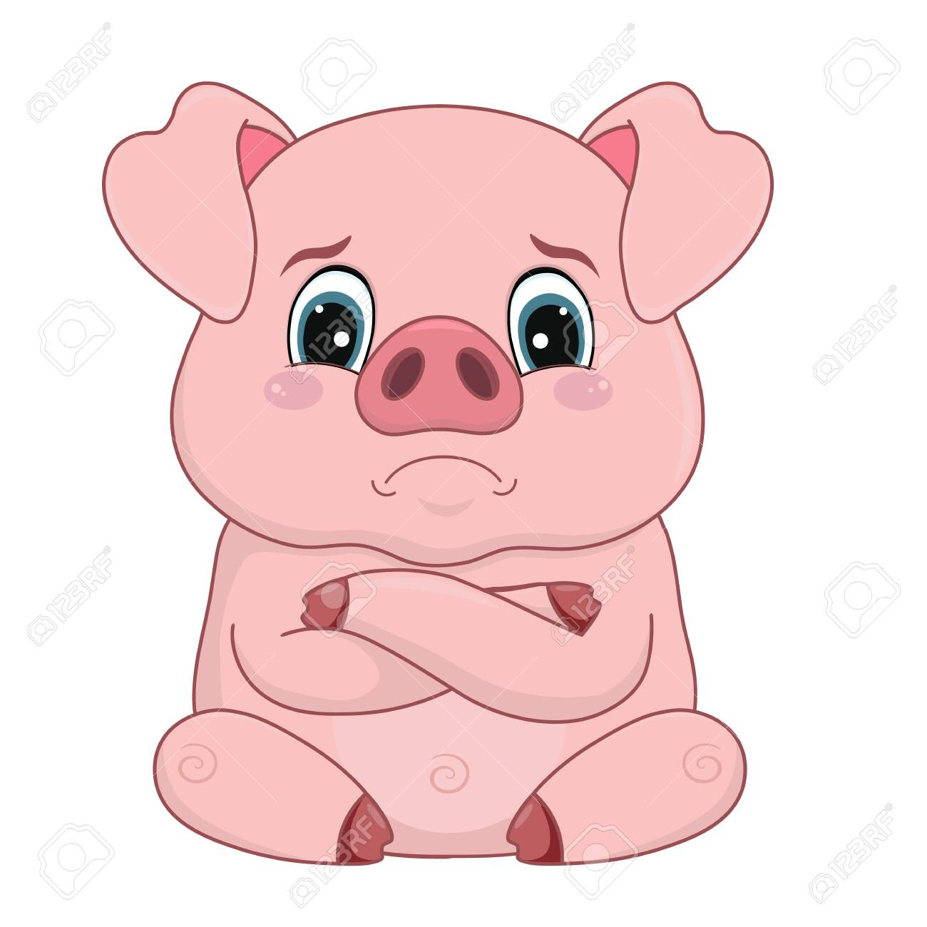 Vector illustration, cartoon pig with offended distressed face, emotion, design element isolated on white-vector - 123721064