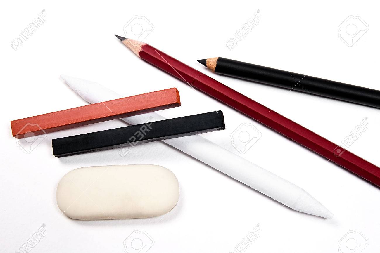 assorted art tools pencils eraser stamp chalk of sanguine stock photo picture and royalty free image image 39002862