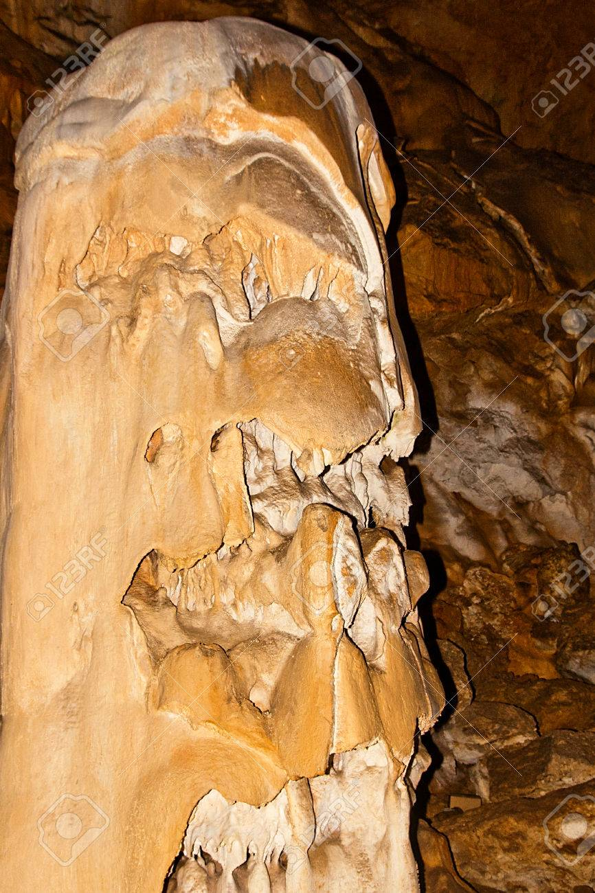 Inside View Of An Underground Cavern Or Cave With Stalagmites ...