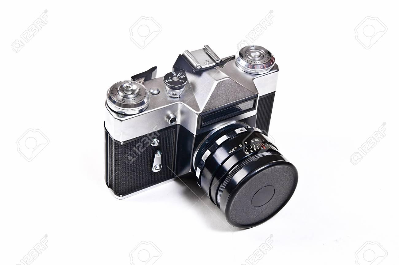 Entfernungsmesser foto kamera mit objektiv. klassische schwarze