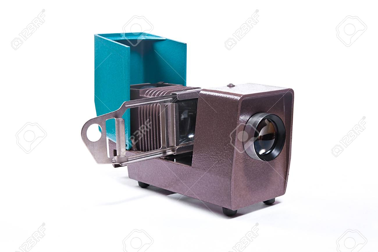 Vintage filmstrip projector on the white background  Old projector