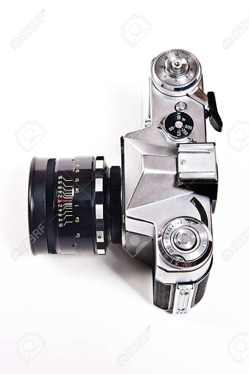 Range finder photo camera with lens  Classic black manual film