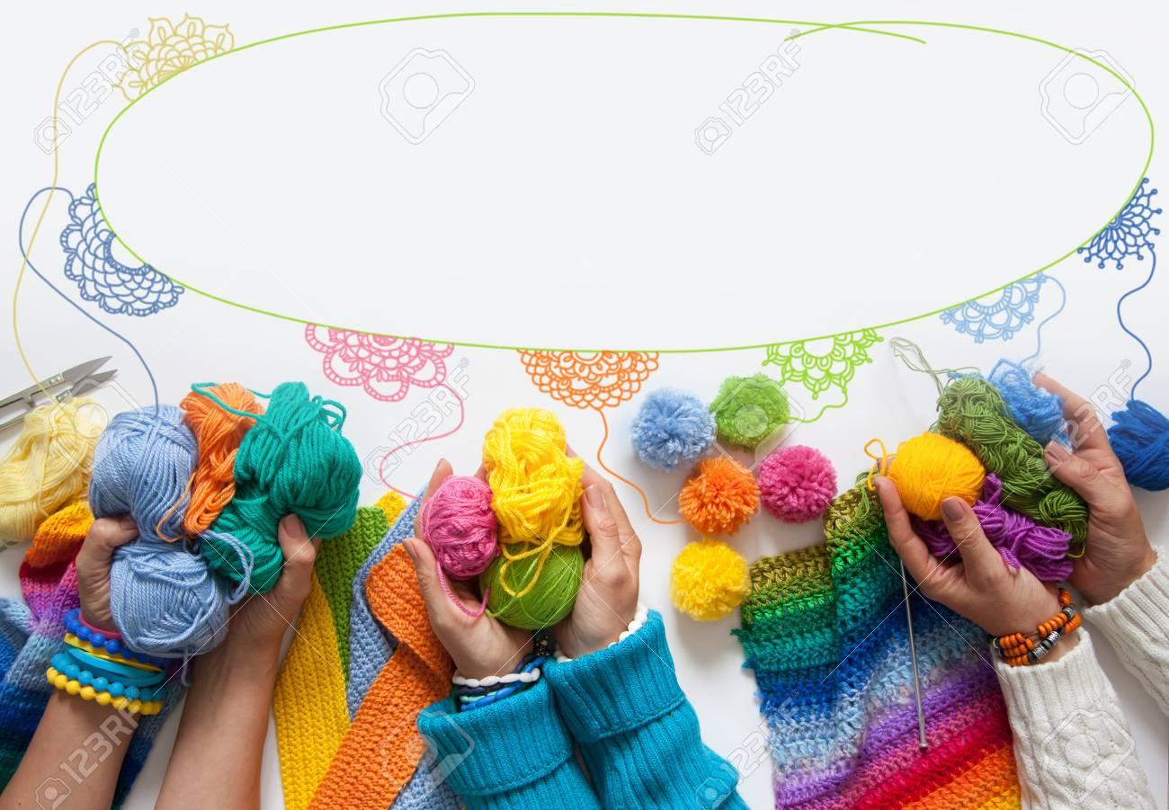 Die Frauen Stricken Und Häkeln Farbigem Stoff Ansicht Von Oben