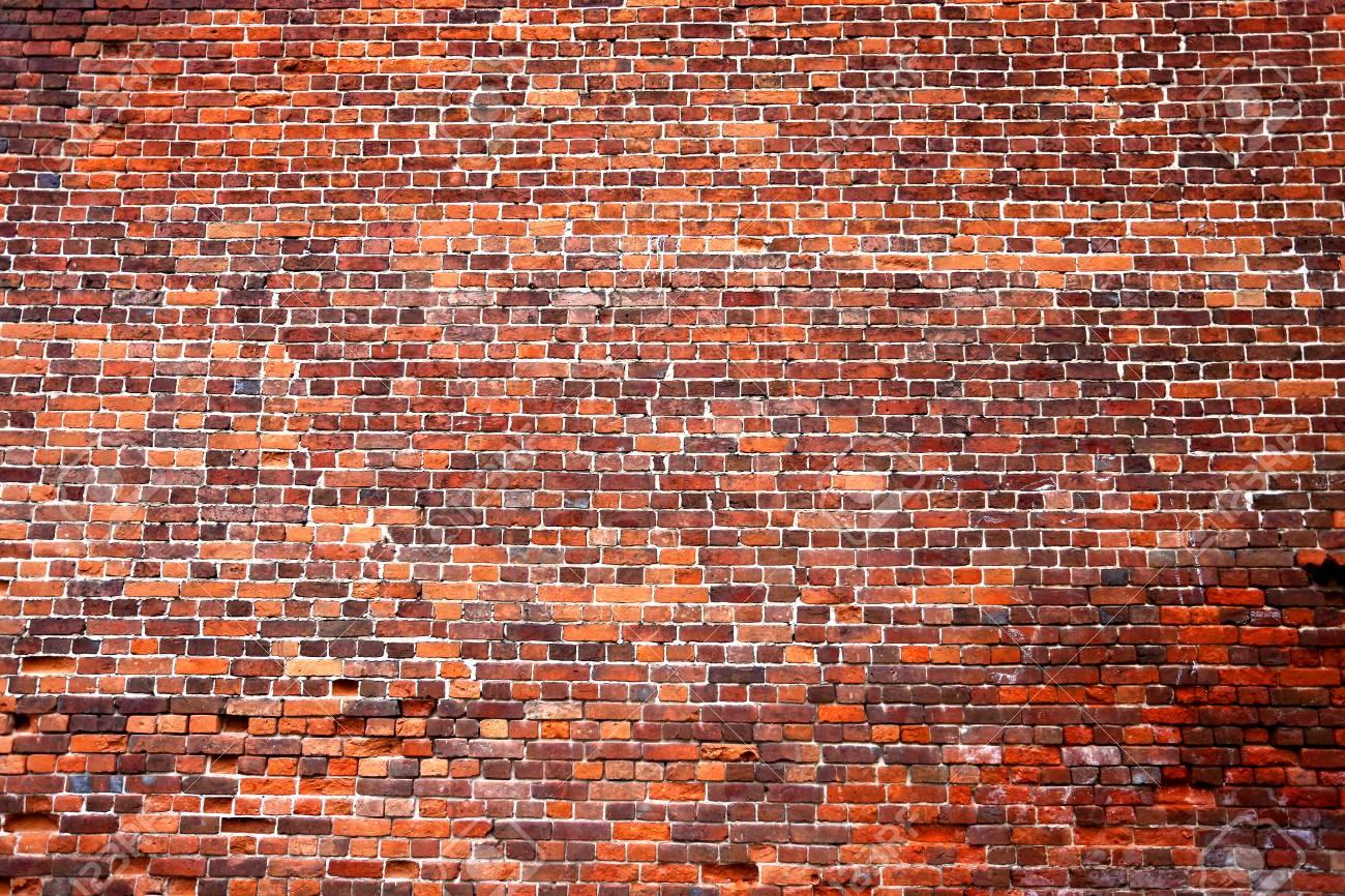 Schöne Wand Von Roten Ziegelsteinen Fotografiert In Der Nahaufnahme ...