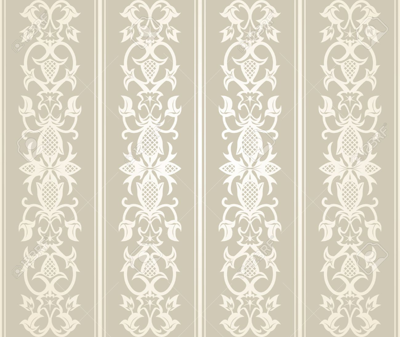 Seamless Wallpaper Pattern In Vintage Style Stock Vector