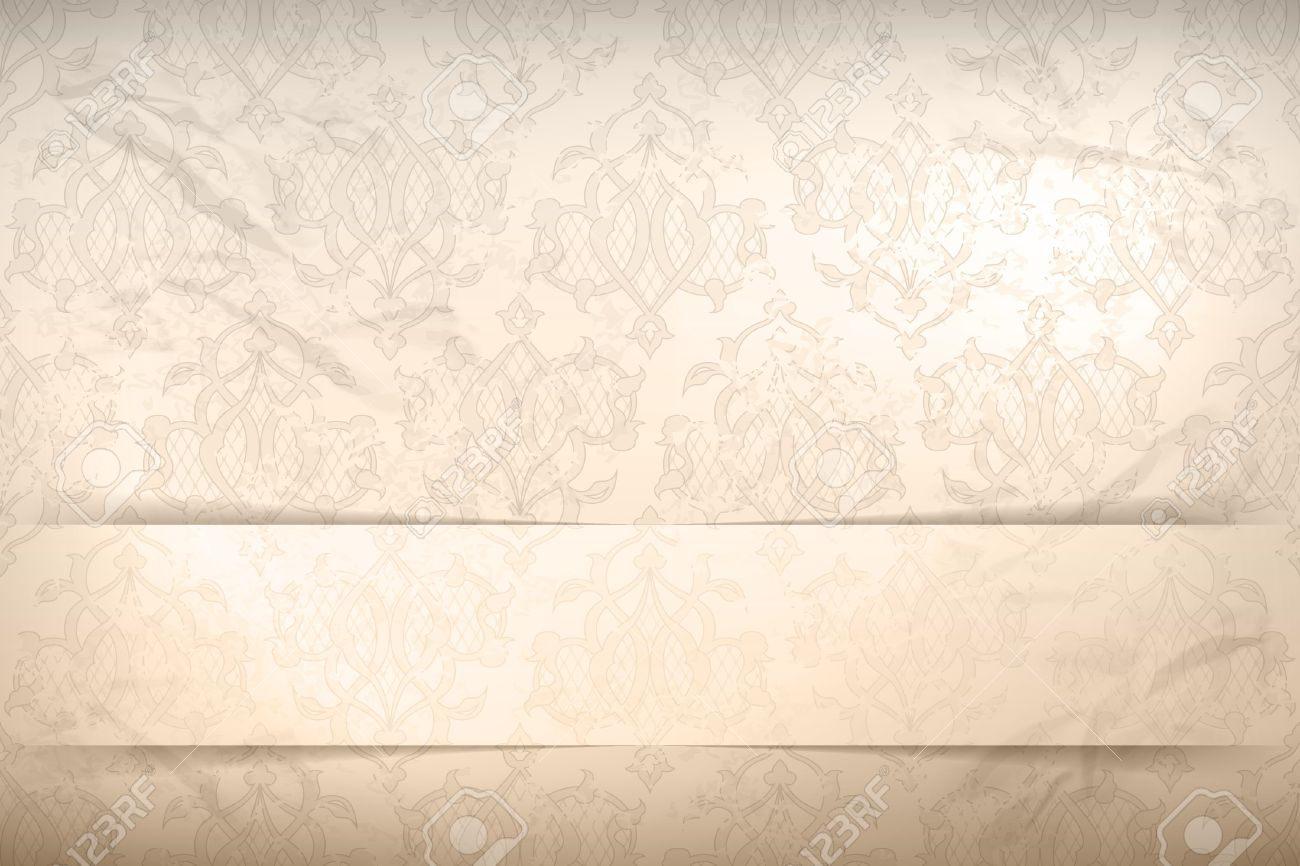 Vintage Wallpaper Background With Retro Seamless Pattern On The
