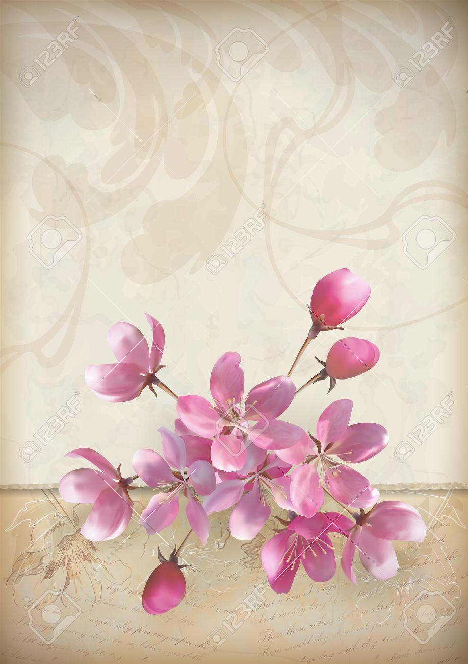 Realistic vector cherry blossom flower arrangement spring design realistic vector cherry blossom flower arrangement spring design with a beautiful bouquet of pink flowers mightylinksfo