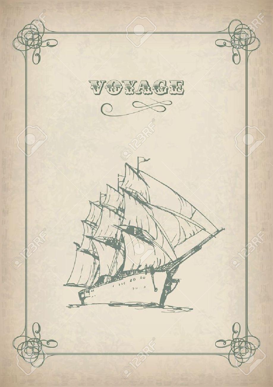 vintage sailboat border drawing on old paper travel print