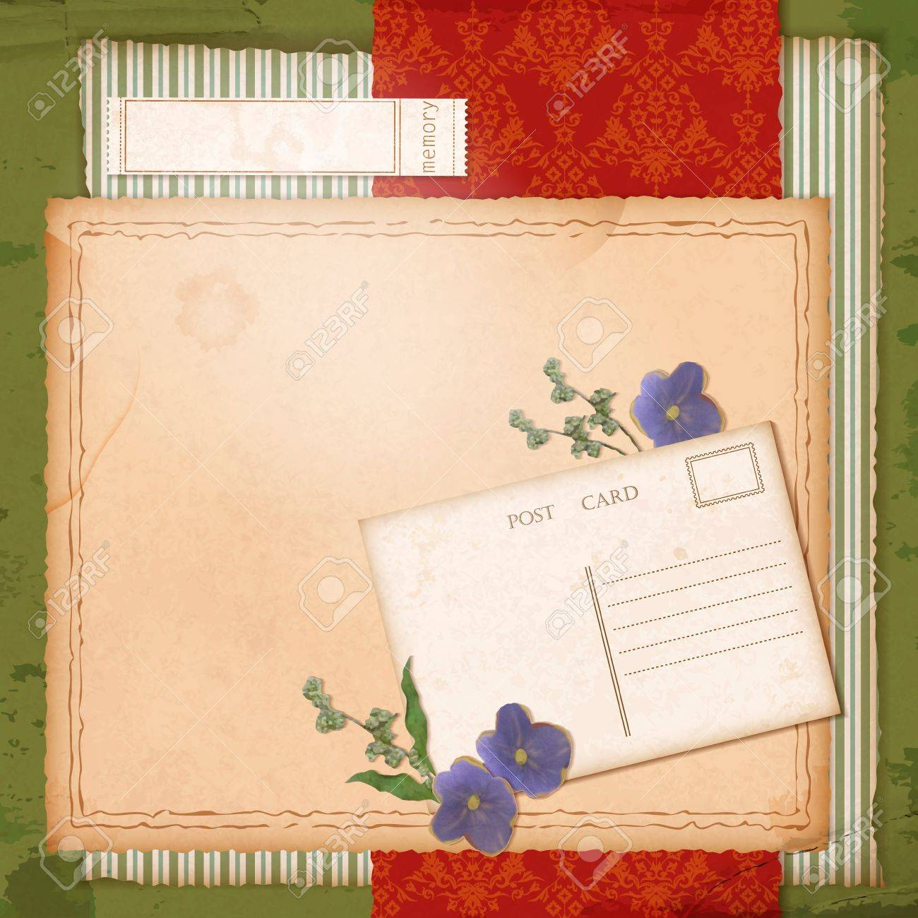 How to scrapbook dried flowers - Scrapbook Retro Design With Grunge Paper Background Dried Flowers Violets Grass Blades