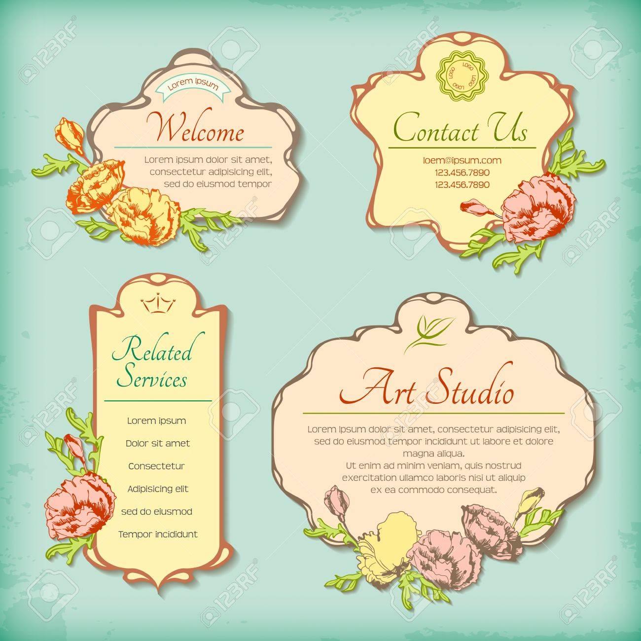 Conjunto De Etiquetas Antiguos Vintage Decorativos Con Flores ...