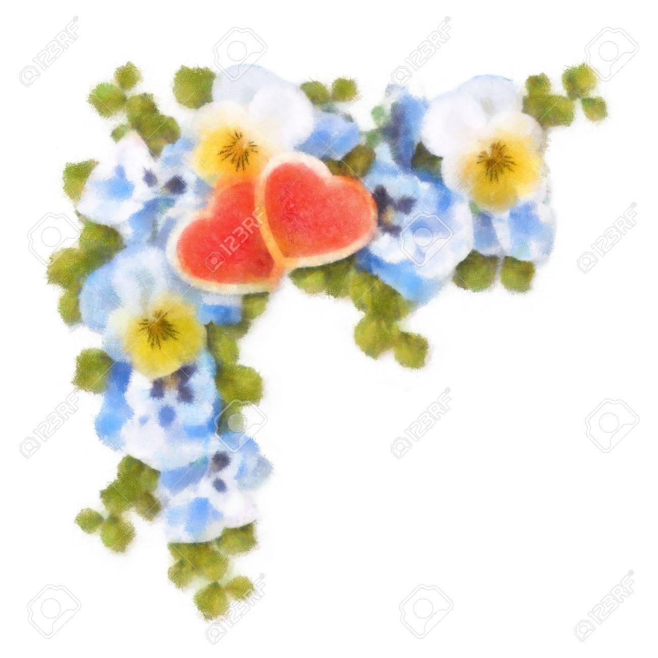 Pastel Et Peinture A L Aquarelle Des Fleurs Et Des Coeurs
