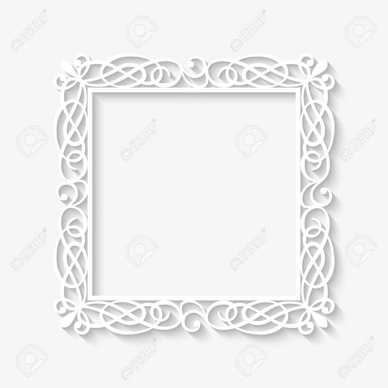Vektor Weiss Frame Hintergrund Mit Langen Schatten Blank Quadrat