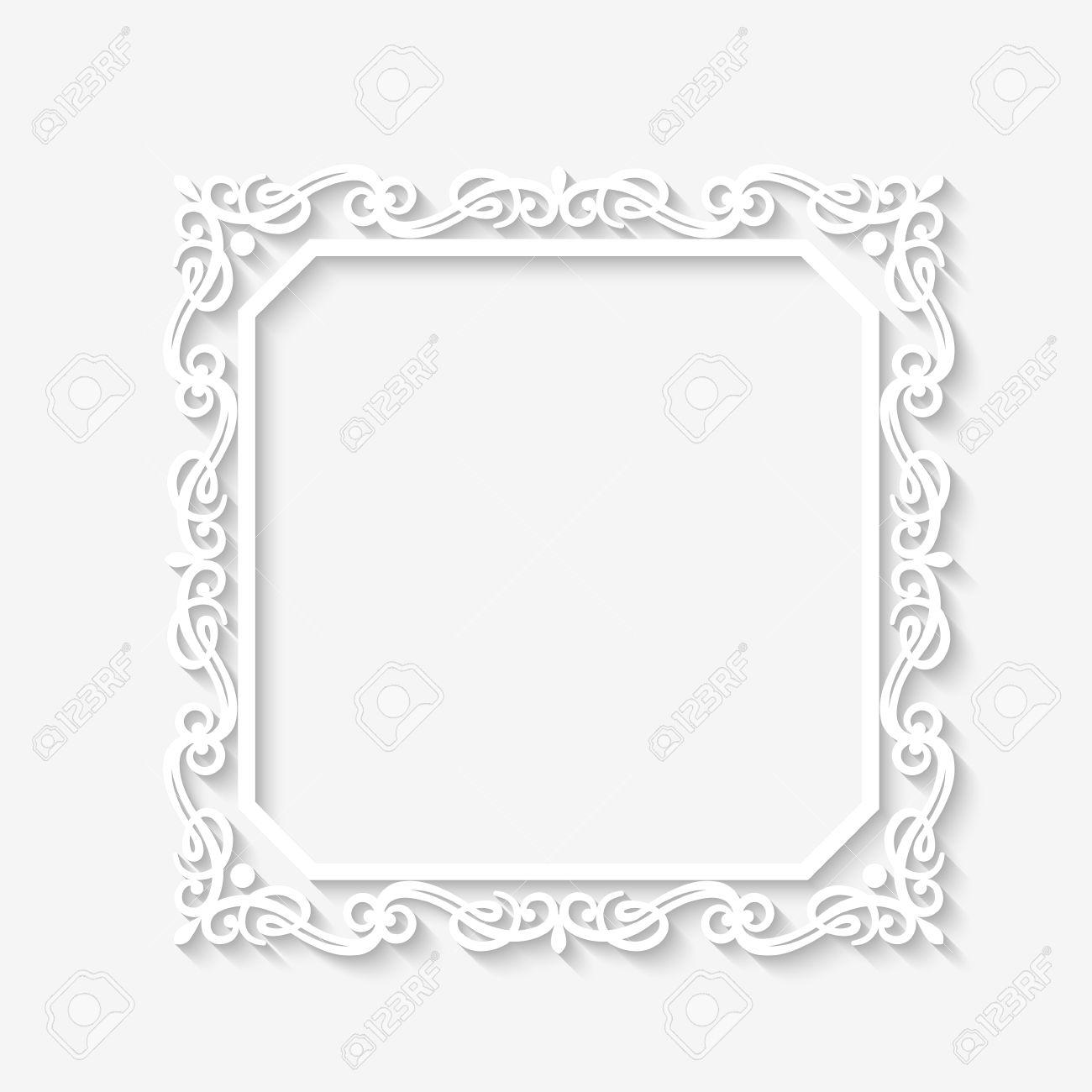 vector vintage marco blanco barroco con largas sombras marco en blanco de papel cuadrado con