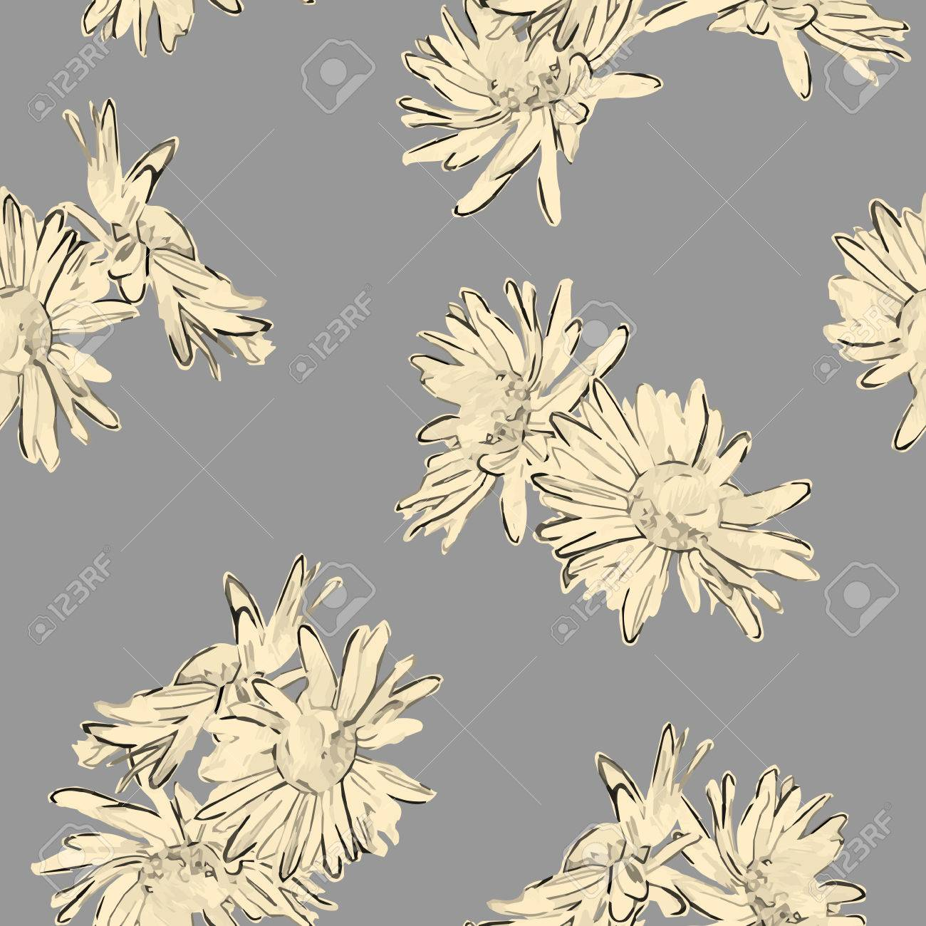 Vintage Vector Seamless Pattern With Hand Drawn Flowers Retro
