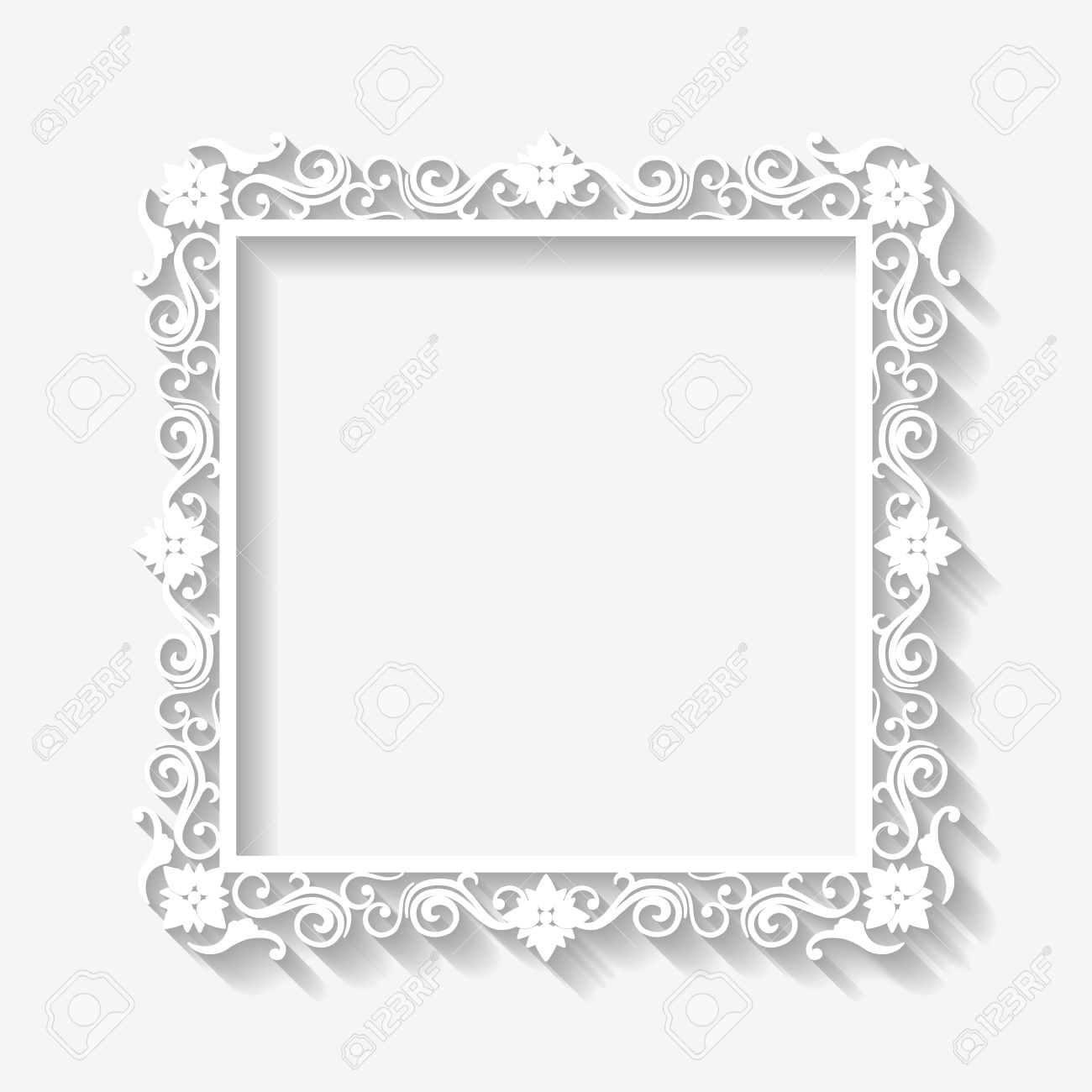 Vector Vintage White Frame Background With Long Shadows Blank