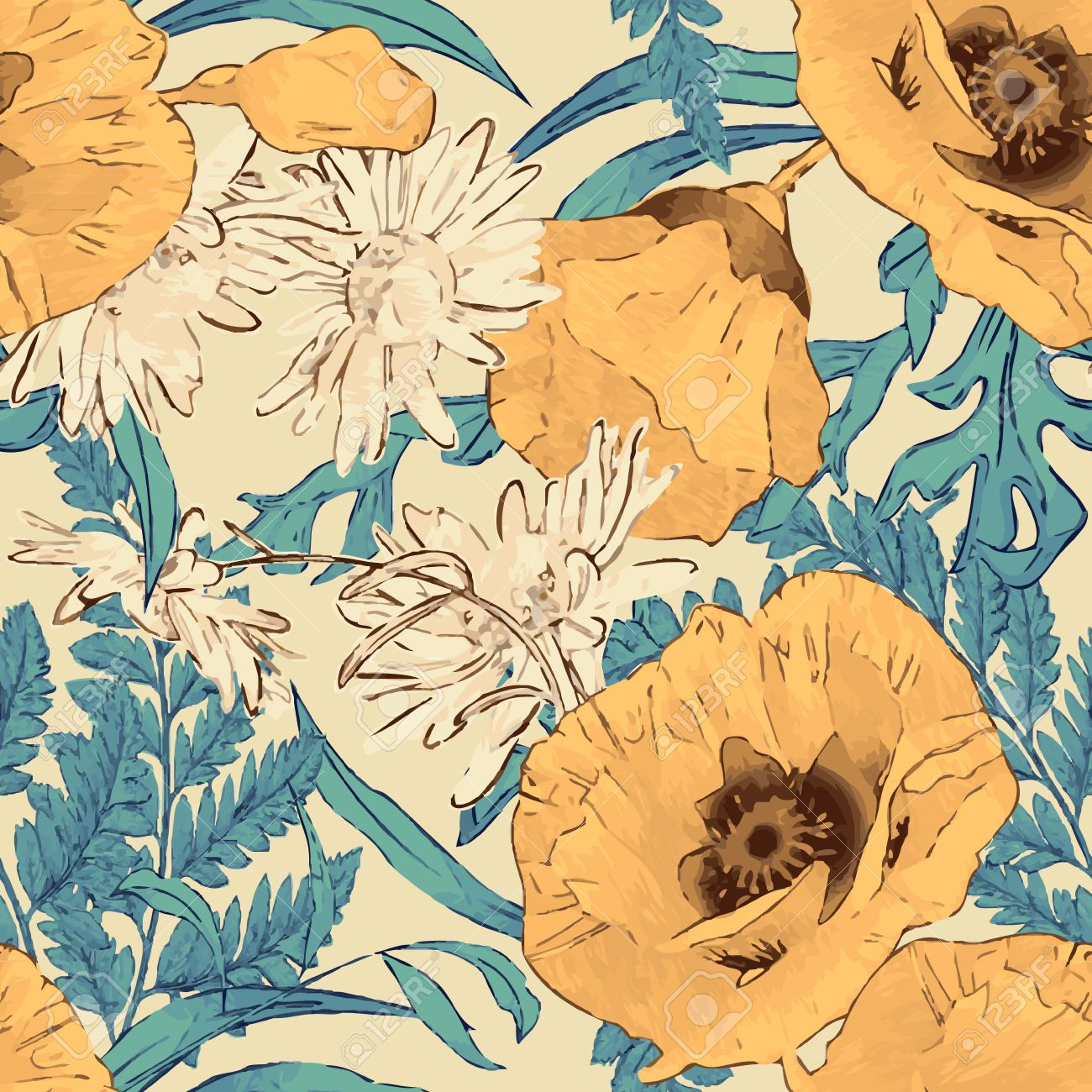 30145430 vintage vector seamless pattern with hand drawn flowers retro floral wallpaper classic style backgro