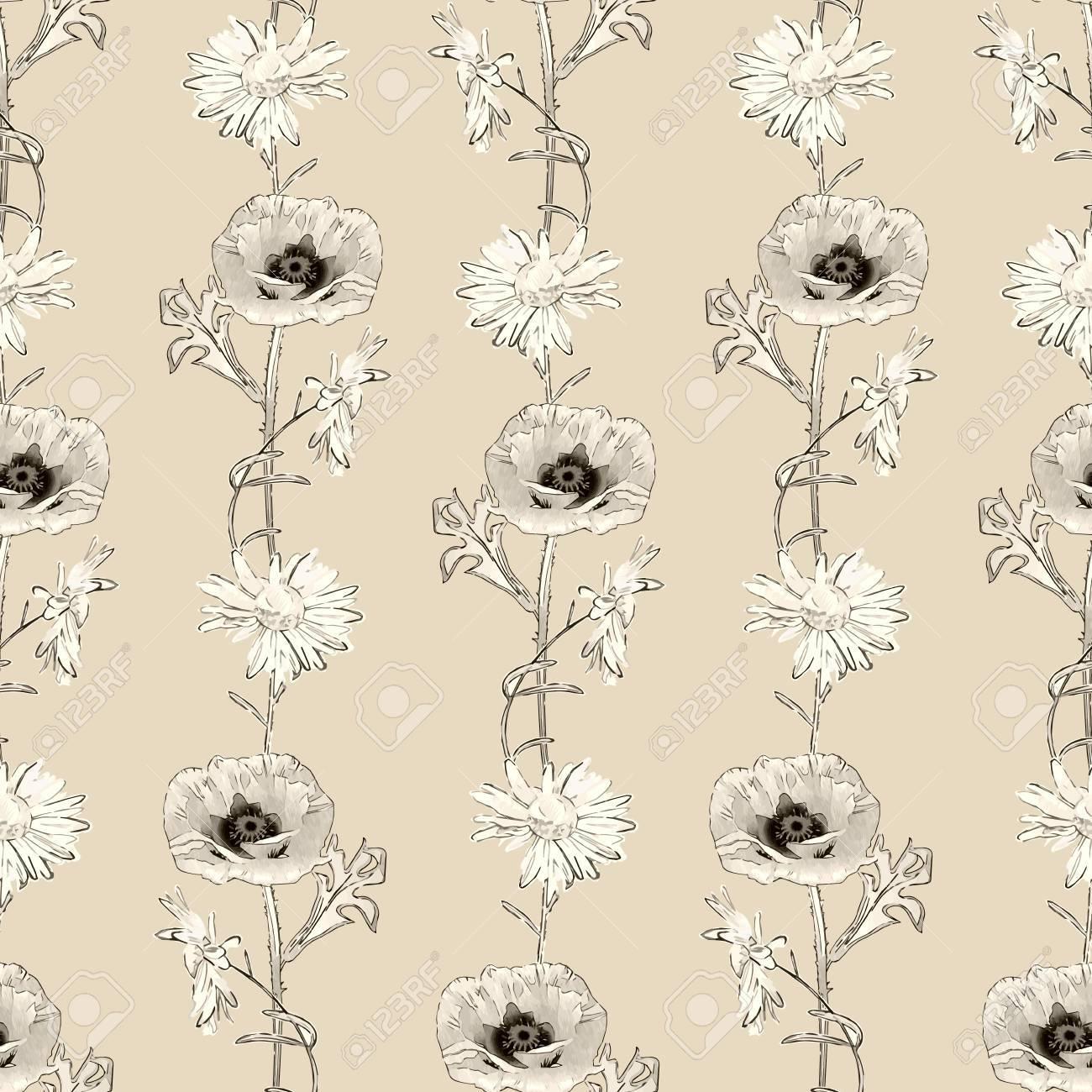 ビンテージ ベクトル手描き花レトロな花柄壁紙クラシック スタイルの背景とのシームレスなパターンのイラスト素材 ベクタ Image