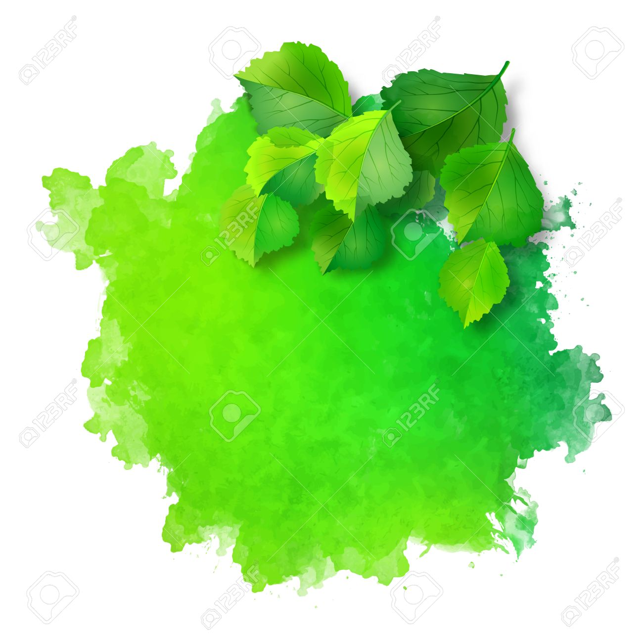 abstract vector watercolor spot with green leaves on rough grunge rh 123rf com grunge texture vector ai grunge texture vector png