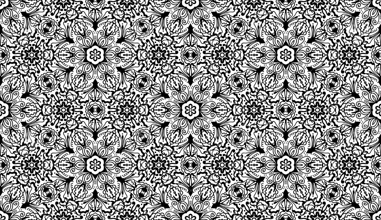 Vector - Vintage vector seamless floral zentangle wallpaper pattern