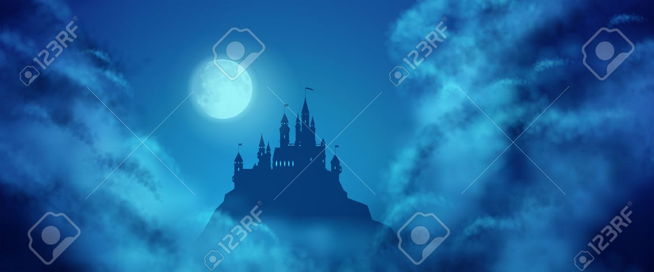 Fantasy vector castle silhouette on the hill against moonlight sky with soft clouds texture. Fantasy night panoramic view - 39374023