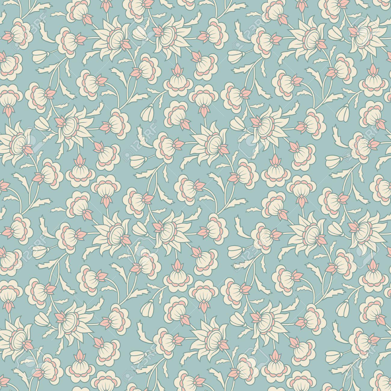 Vintage Vector Seamless Floral Damask Wallpaper Pattern Royalty