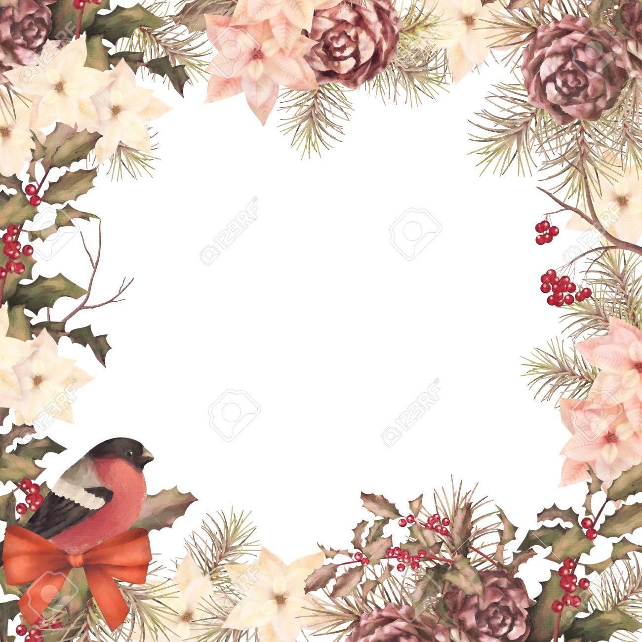 Christmas floral border stock photos freeimages com - Christmas Retro Watercolor Decorative Frame Composition Bird Bullfinch Poinsettia Flowers With Rowan And Holly