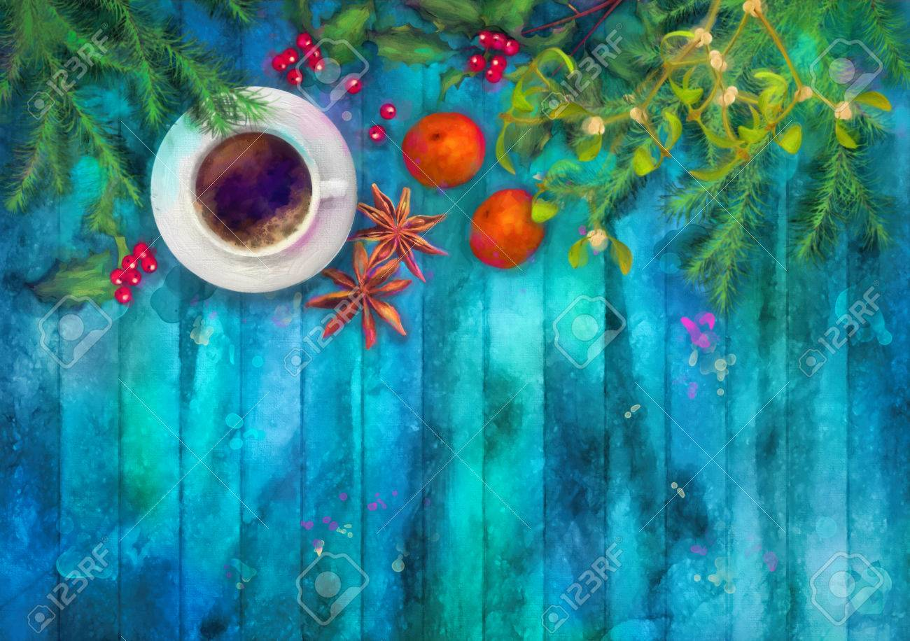 Christmas Watercolor Top View Background. Cup Of Coffee, Fir Tree Branches,  Star Anise