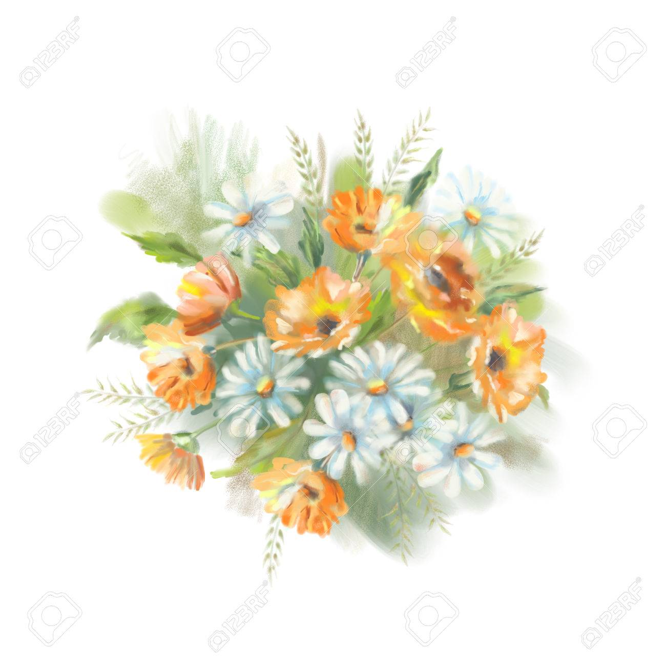 Watercolor illustration of painted flowers bouquet the original illustration watercolor illustration of painted flowers bouquet the original botanical garden nature art on a white background izmirmasajfo