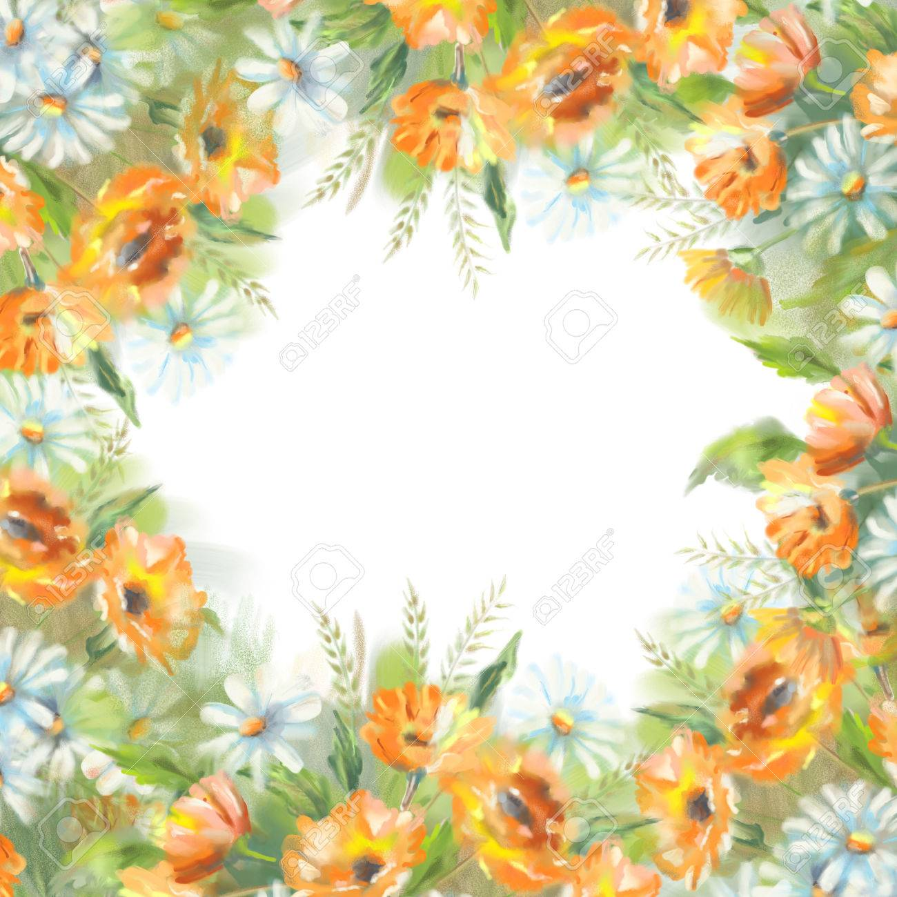 Watercolor Illustration Of Painted Flowers Border Over A White