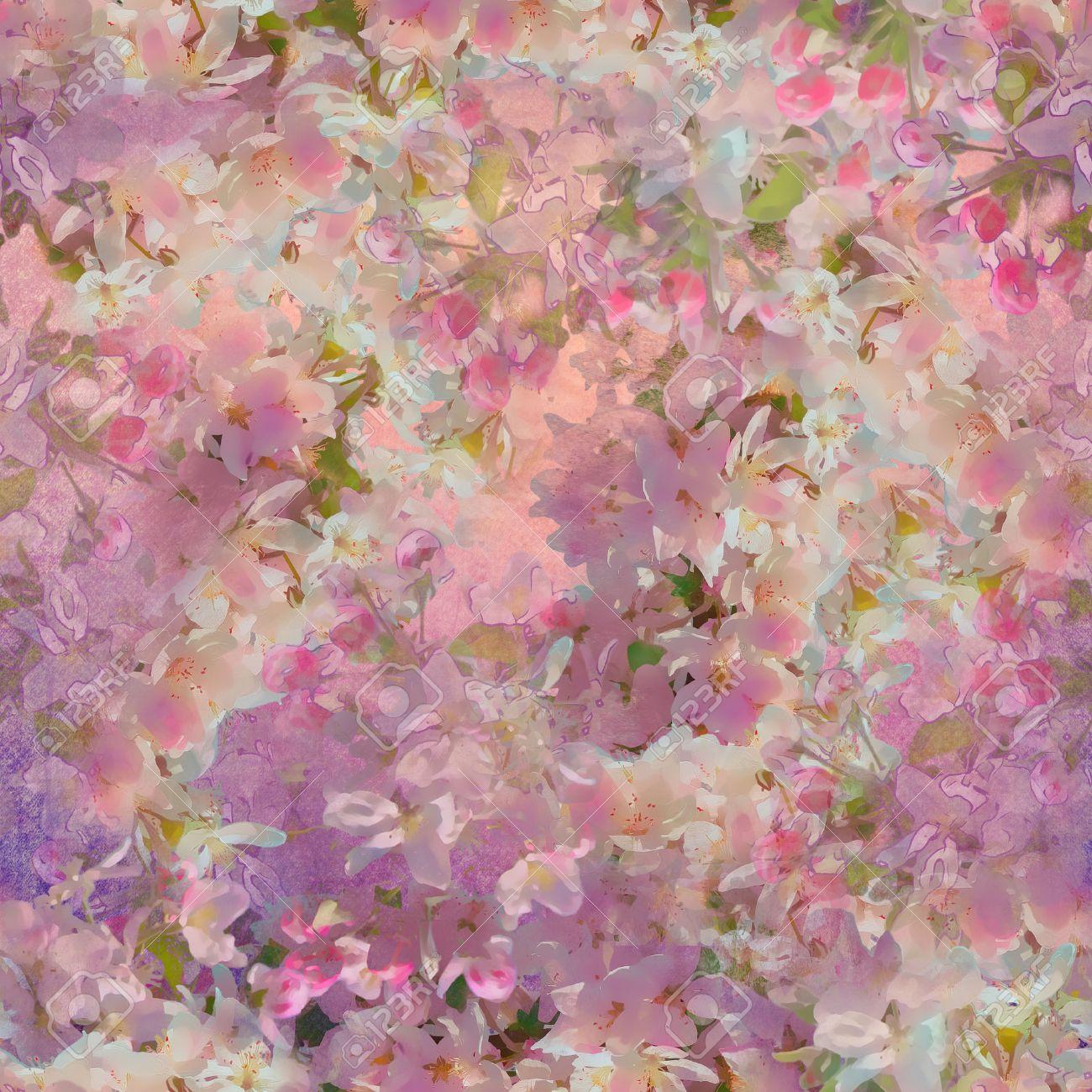 Seamless A La Fleur De Cerisier Au Printemps Peinture Style Art