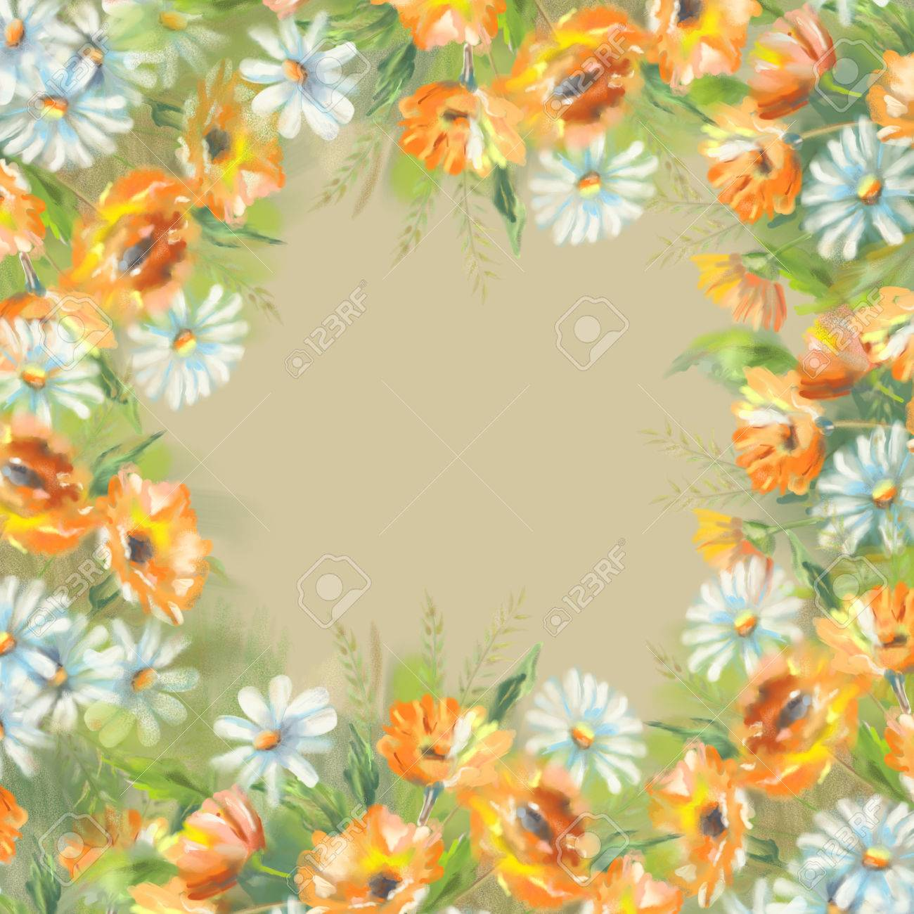 Watercolor Illustration Of Painted Flowers Border The Original