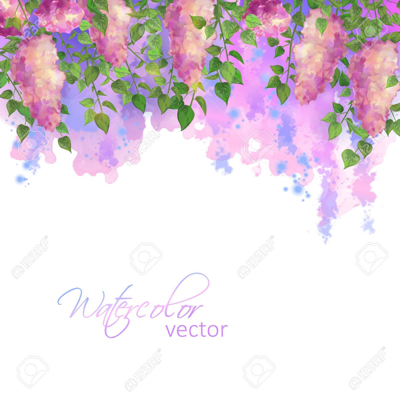 Watercolor vector spring artistic abstract border with flowers and branches of lilac, streaks, blobs - 52899197