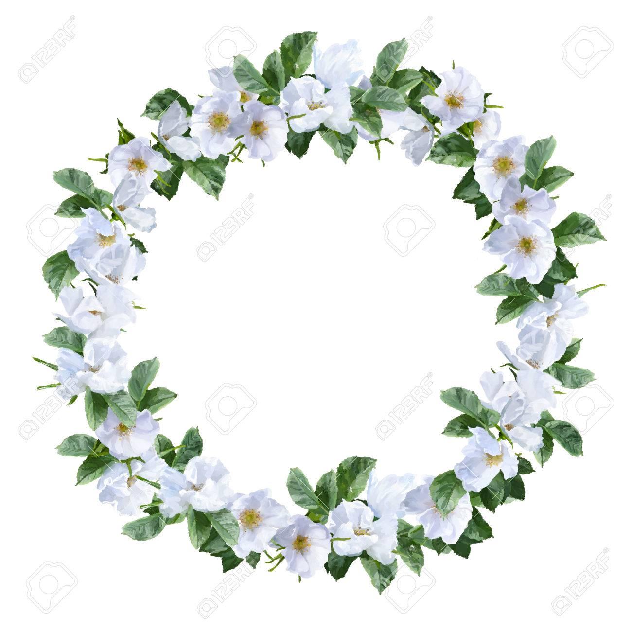 Aquarelle Decoratif Couronne De La Peinture Avec Des Fleurs Blanches